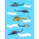 Flying Helicopters with Banners. Advertizing