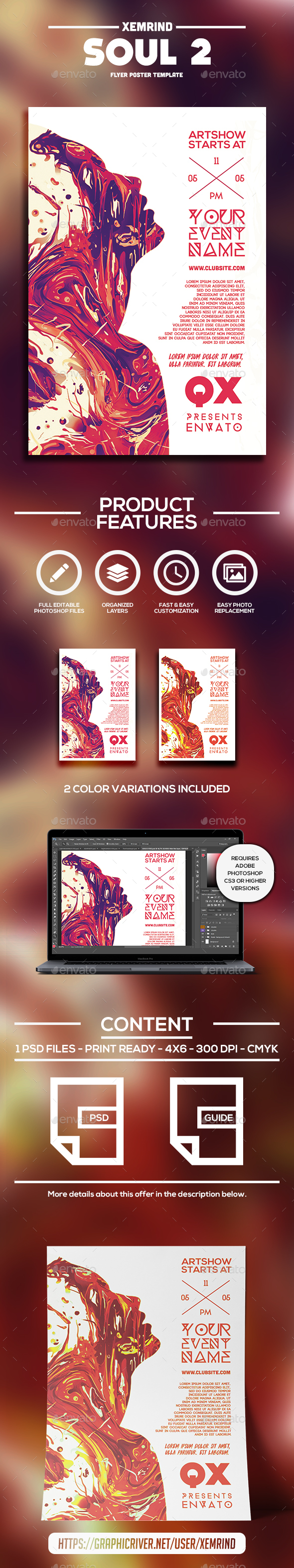 Soul 2 Flyer Template - Clubs & Parties Events