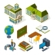 School and Education Isometric. Back To School 3d
