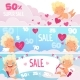Valentine Day Sale Banners. Red Hearts Cute Funny
