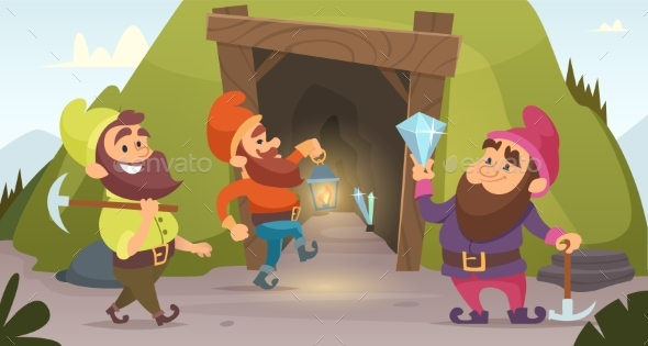 Dwarves in the Mine. Vector Characters of Dwarves - Characters Vectors