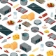 Vector Cooking Food Isometric Objects Background