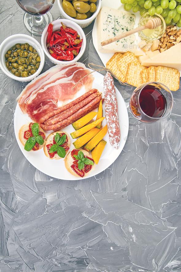 Italian antipasti wine snacks set. Italian food. - Stock Photo - Images