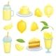 Lemon Food. Cakes, Lemonade and Others Yellow