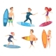 Surf Characters. Vector Design of Summer Mascots
