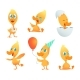Illustrations of Funny Duck. Vector Cartoon