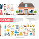 Flat Clothing And Kids Shops Infographics - GraphicRiver Item for Sale