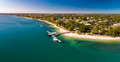 Aerial view of Bongaree Jetty on Bribie Island, Sunshine Coast, - PhotoDune Item for Sale