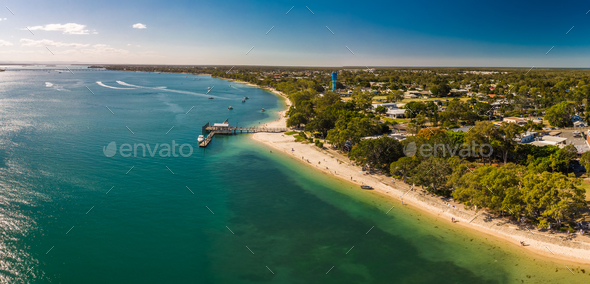 Aerial view of Bongaree Jetty on Bribie Island, Sunshine Coast, - Stock Photo - Images