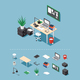 Isometric Office Desk Set