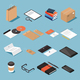 Isometric Stionery And Office Objects Set