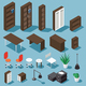 Isometric Office Funiture Set