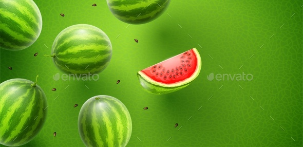 Watermelon Sweet Fruits Flavour Banner Design - Food Objects