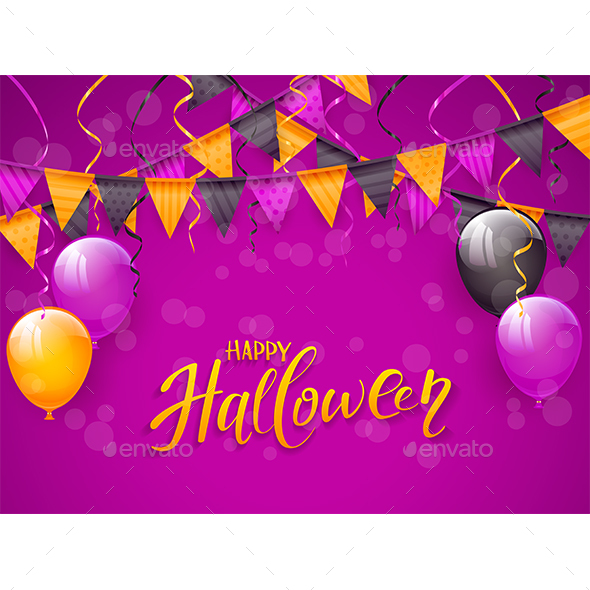 happy halloween with balloons and pennants on purple background by losw
