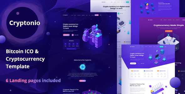 Cryptonio - Bitcoin ICO Cryptocurrency Landing Page HTML Template
