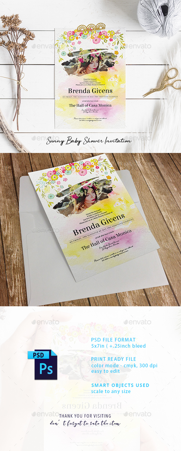 Sunny Baby Shower Invitation - Cards & Invites Print Templates