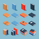 Isometric Colourful Book Set