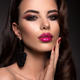 Beautiful woman with professional make up. Pink lips - PhotoDune Item for Sale