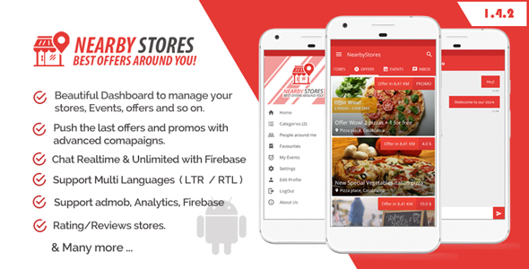 NearbyStores - Offers, Events & Chat Realtime + Firebase 1.4 - CodeCanyon Item for Sale