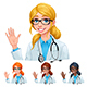 Doctor with Different Hair and Skin Colors - GraphicRiver Item for Sale