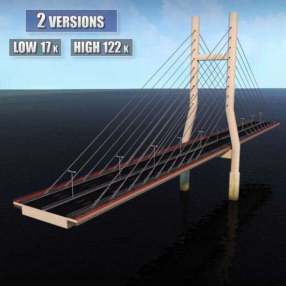 Double Suspended Road Bridge - 3DOcean Item for Sale