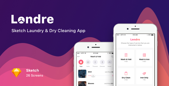 Londre - Sketch Laundry & Dry Cleaning App - Sketch Templates