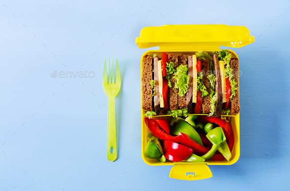 Healthy school lunch box with beef sandwich and fresh vegetables - Stock Photo - Images