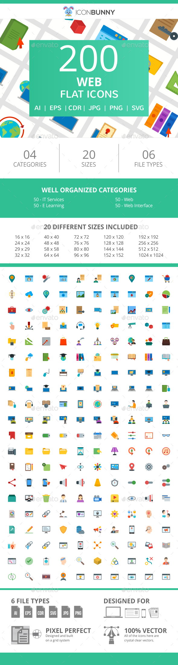 200 Web Flat Icons