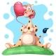 Giraffe with Heart Balloon.