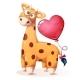 Giraffe with Heart Balloon