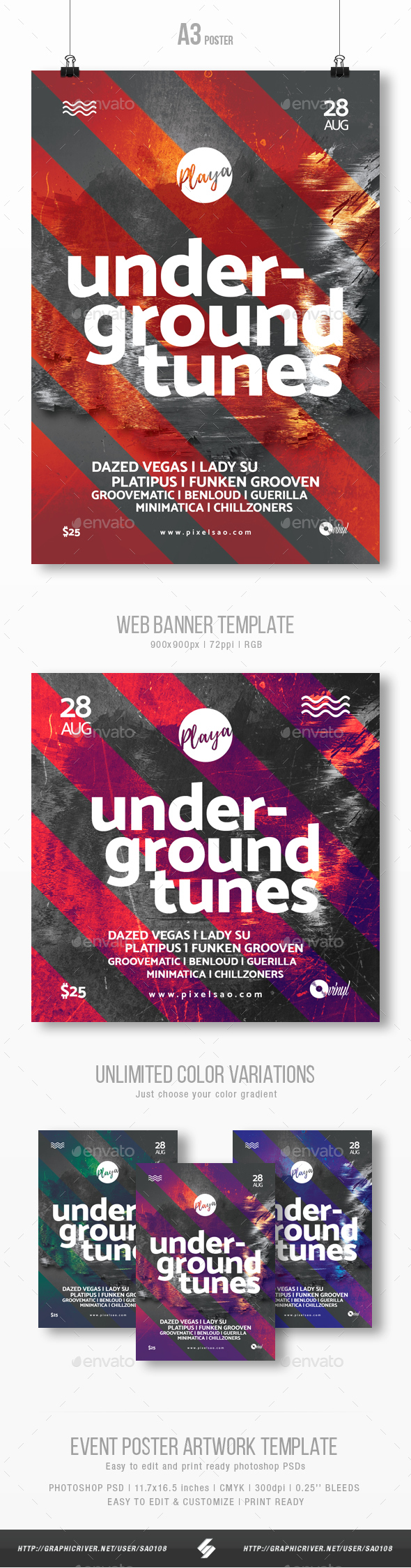 Underground Tunes - Club Music Party Flyer / Poster Template A3 - Clubs & Parties Events