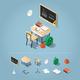Isometric School Desk Illustration