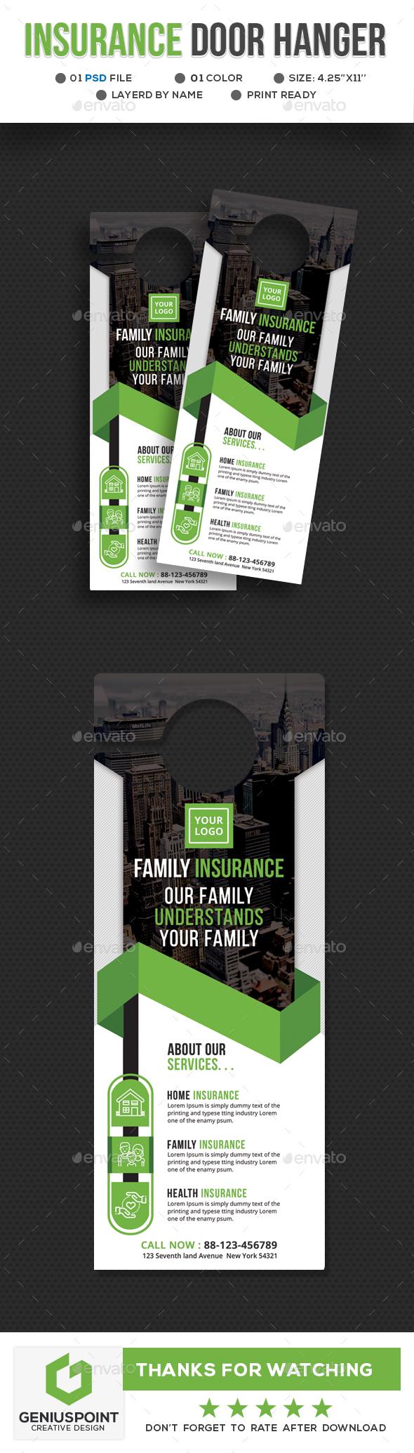 Insurance Door Hanger - Miscellaneous Print Templates