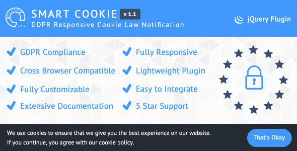 SmartCookie - GDPR Responsive Cookie Law Notification - CodeCanyon Item for Sale