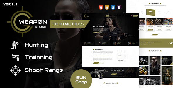 Weapon Store - Gun Shop HTML Template - Retail Site Templates