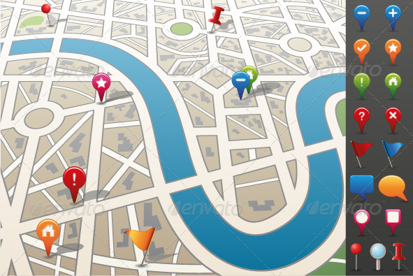 City map with GPS Icons.  - Web Elements Vectors