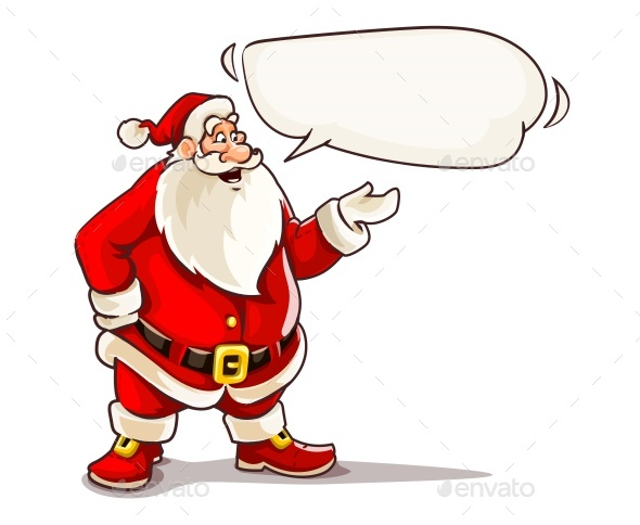 Christmas Santa Claus Speaking with Message Cloud. - Vectors