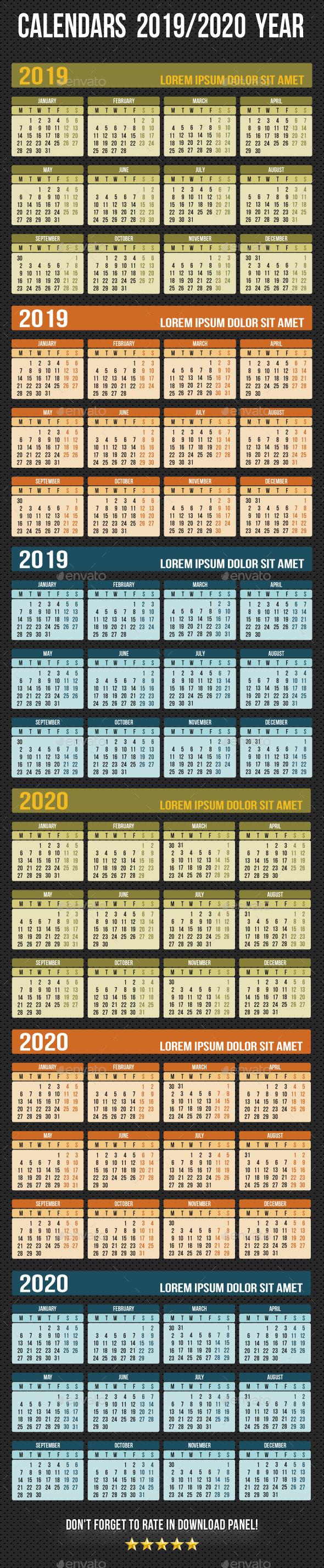 Calendars 2019 - 2020 Year - Miscellaneous Vectors