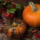 Thanksgiving rustic decor with viburnum and pumpkins - PhotoDune Item for Sale