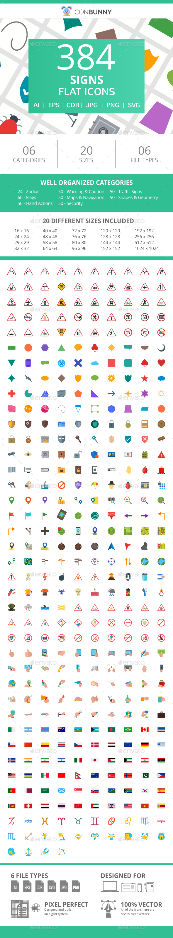 384 Sign Flat Icons