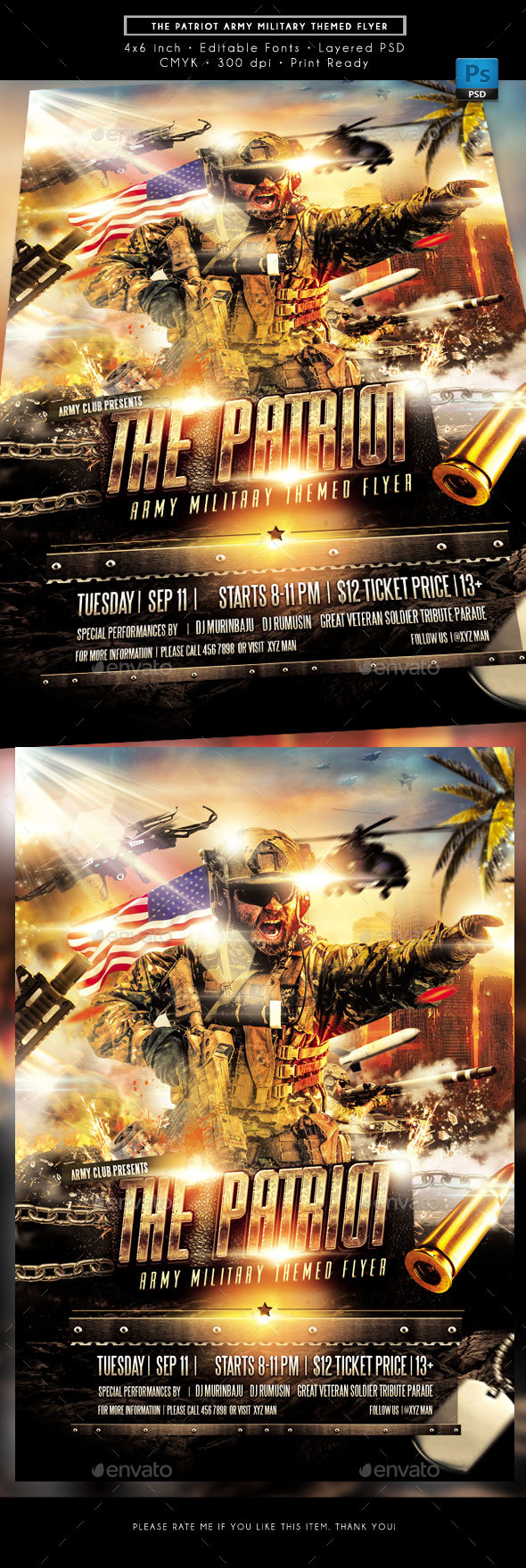 The Patriot Army Military Theme Flyer - Miscellaneous Events