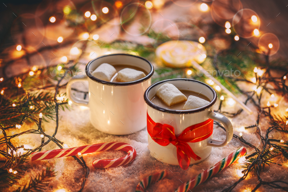 Two portions of hot chocolate - Stock Photo - Images