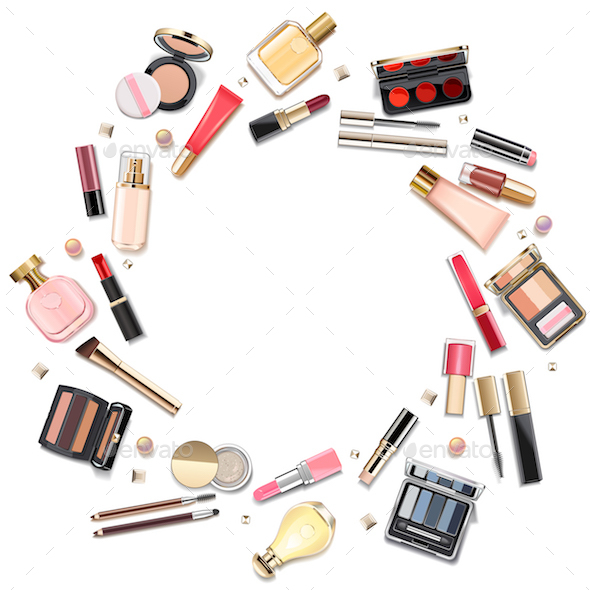 Vector Round Makeup Cosmetics Concept - Commercial / Shopping Conceptual