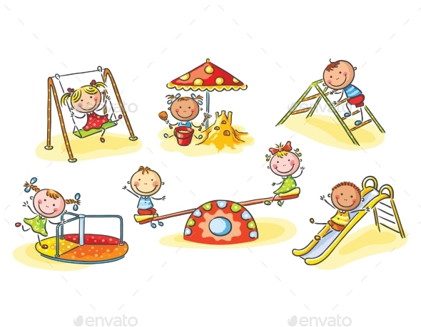 Happy Cartoon Kids on Playground, Cartoon Graphics - People Characters