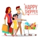 Shopping Woman Vector. Happy Family Couple