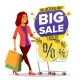 Shopping Woman Vector. Grocery Cart. Big Sale - GraphicRiver Item for Sale