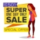 Shopping Woman Vector. Big Discount. Super Sale