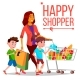 Shopping Woman Vector. With Children. Purchasing - GraphicRiver Item for Sale
