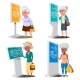 Old Woman Using ATM, Digital Terminal Vector. Set - GraphicRiver Item for Sale