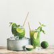 Matcha ice-tea with lime and mint in glasses, copy space - PhotoDune Item for Sale